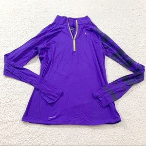 Nike purple quarter zip running pullover jacket